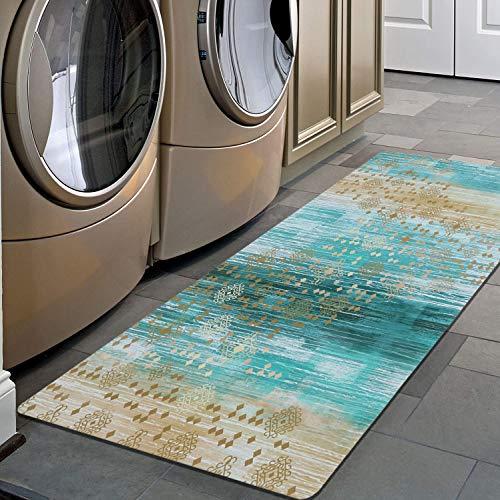 Pauwer Non Slip Runner Rug Waterproof Natural Rubber Kitchen Runner Laundry Room Floor Mat Doormat Entrance Rug...