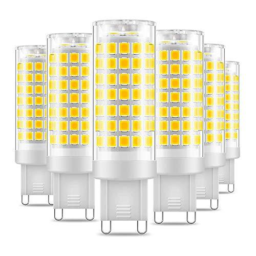 Eterbiz Lampadina LED G9, 7W, ricambio per lampadine alogene G9 60W, 6000K luce bianca fredda, non dimmerabile, 650 lumen, angolo di 360 gradi, lampadine a risparmio energetico, confezione da 6