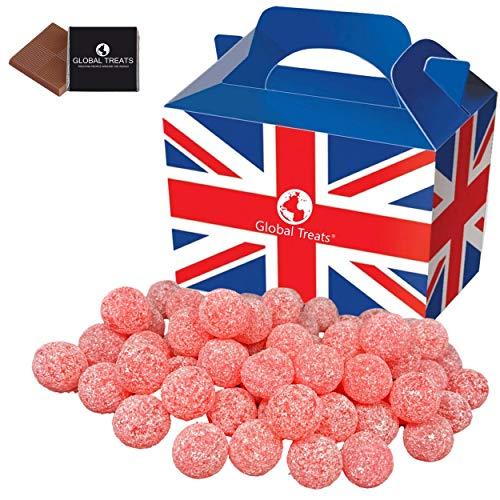 Barnetts Mega Sour Cherry Hard Candy 500g/17.64oz. In a British Treats Gift Box with a Free Global Treats Chocolate.