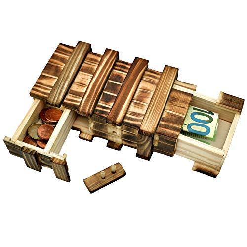 Magische Geschenkbox aus Holz Geld Geschenk Verpackung Rätselbox groß 2 geheime Fächern für...