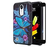 Compatible for LG Aristo 3/Aristo 2 Plus/Aristo 2/Tribute Empire/Dynasty/Zone 4/Fortune 2/Risio 3/Rebel 3/Rebel 4/Phoenix 4 Case w/Tempered Glass Screen Protector, Blue Butterfly