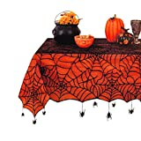 Elrene Halloween Tablecloth Spider Web Black Lace with Orange Peva Liner and Hanging Spiders for Dining, Dinner, Kitchen Table or Haunted House Decoration (52 x 70 Rectangle)