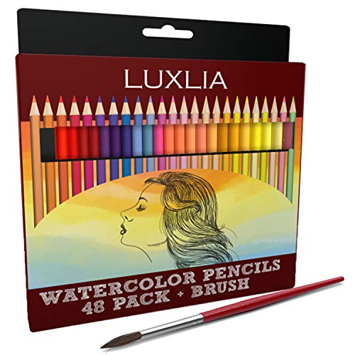 LUXLIA Professional Watercolor Pencils, Set of 48, Multi Colored Art Drawing Pencils and Brush in Bright Assorted Shades, Ideal for Coloring, Blending and Layering, Watercolor