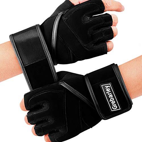 Grebarley Fitnesshandschuhe Trainingshandschuhe,Handschuhe mit Handgelenkstütze und Palm Schutz,rutschfest Ideal zum Gewichtheben,Crossfit,Bodybuilding,Sporthandschuhe für Damen und Herren(Black,S)