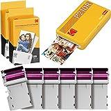 Kodak Mini 2 Stampante foto per smartphone, 6 Cartucce incluse, Istantanee formato 54x86mm, Wireless, Portatile e compatibile iOS e Android - Gialla