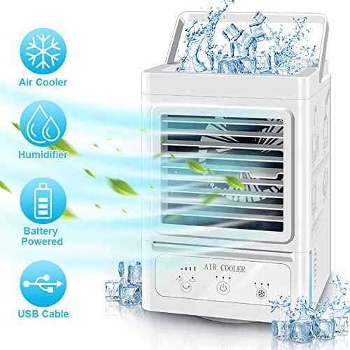 Portable Air Conditioner Fan, 5000mAh Rechargeable Battery Operated 120Auto Oscillation Personal Air Cooler with 3 Wind Speeds, Ultra Quite Humidifier for Home Bedroom Office Outdoor