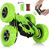 SGILE RC Stunt Car Toy, Remote Control Car with 2 Sided 360 Rotation for Boy Kids Girl, Green