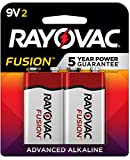 Rayovac Fusion 9V Batteries, Premium Alkaline Red/Silver, 2 Count