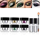 RUIMIO Glitter Powder 6 Colors with Adhesive and Brush for Eyeshadow, Makeup, Nail Art