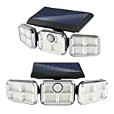 Solar Lights Outdoor,120 Security LED Flood Light,Solar Powered Motion Sensor Lights for Outside,3 Head Adjustable ,IP65 Waterproof Wireless Wall Lights for Porch Yard Garage Pathway and More(2 Pack)
