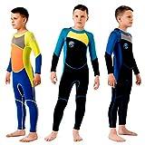 Scubadonkey 2.5 mm Neoprene Fullbody Wetsuit for Kids Boys (Grey/Blue, 8)