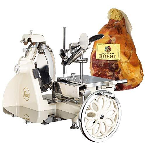 FAC - Special Bundle - Affettatrice Volano Curvy 300 Componenti in Acciaio - Crema + Prosciutto Crudo di Parma 24 mesi intero incluso nel prezzo