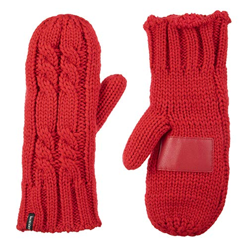 isotoner womens Chunky Cable Knit Sherpasoft cold weather mittens, Really Red, One Size US