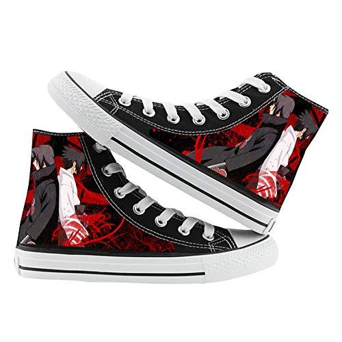 Naruto Zapatos Zapatillas de Lona de Anime Zapatillas Altas Zapatillas de Suela de Goma for Estudiantes (Color : Black06, Size : EU38 US7)