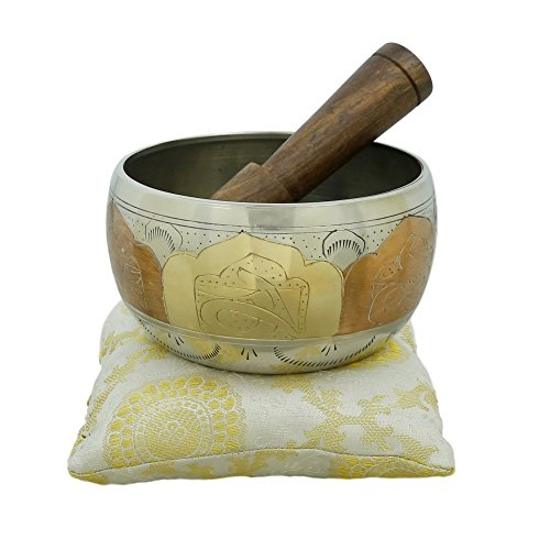 Tibetan Singing Bowl Meditation Copper and Silver Buddhist Décor 4 Inch