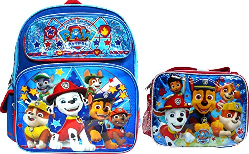 Paw Patrol Backpack Book Bag with Matching Lunch Box Travel, Fun, Field Trip, Everyday Bag (12 Inch w/Lunch Box)