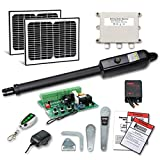 TOPENS A3S Automatic Gate Opener Kit Light Duty Solar Single Gate Operator for Single Swing Gates Up to 12 Feet or 300 Pounds, Gate Motor Solar Panel
