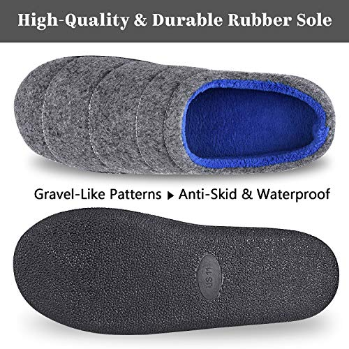 Homitem Mens Slippers Duo-Tone Memory Foam Slippers with Bread Shape, Slip on Clog House Shoes with Anti-Skid Indoor Outdoor Rubber Sole