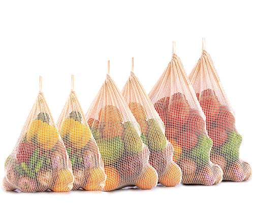 Sacchetto in rete riutilizzabile- Sacchetti in cotone biologico - borsa a rete - Borsa di cotone - sacchetti di cotone riutilizzabili