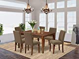 East West Furniture CAAB7-MAH-18 7Pc Rectangle 60' Dining Table And 6 Parson Chair With Mahogany Leg And Linen Fabric Coffee, 7