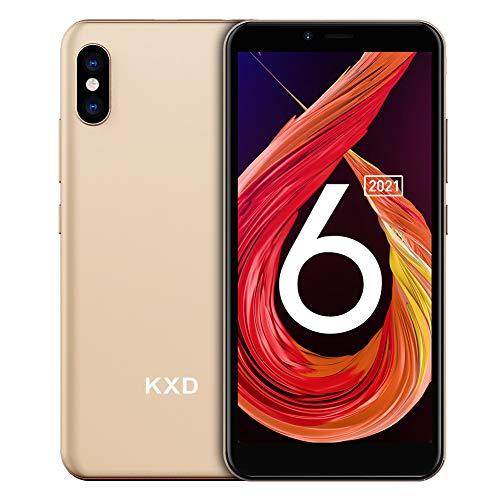 Téléphone Portable Débloqué KXD 6A Ecran 5.5 Pouces, Android 8.1, Smartphone Débloqué Pas Cher 3G Dual SIM, Caméra 5MP+2MP, 1Go RAM+8Go ROM, Batterie 2500mAh, Face ID, GPS, d'or