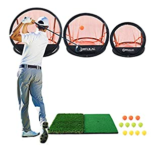 """【PRACTICE LIKE A PRO】Includes 3 Chipping Targets (12 inches, 18 inches, 24 inches), 12""""X24"""" dual turf hitting mat and 12 foam training balls for practicing at varying distances and directions, Best for golfers of all levels! 【GOLF ANYTIME & ANYWHERE】..."""