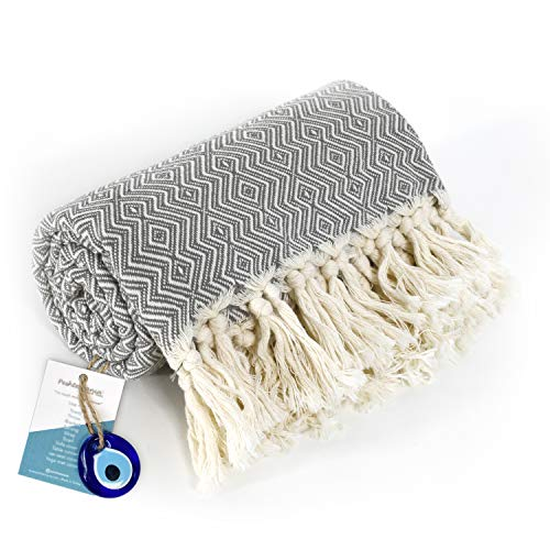 Chevron Throw Blanket with Fringe 100% Cotton Lightweight for Chair, Couch, Boho Farmhouse Rustic Decor. Turkish...