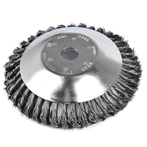 WENTS Spazzola per erbacce selvatiche, spazzola per decespugliatore, spazzola rotonda per decespugliatore, 200 x 25,4 mm, filo di acciaio professionale (8 pollici)