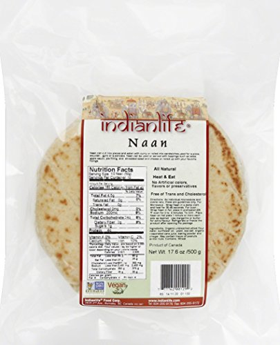 Indian Life Naan, Plain, 5-Count, 500 Gram Boxes (Pack of 12)