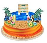 Surf Cake Topper with Edible Sugar Surfboards, Edible Sugar Hibiscus Flowers, Palm Trees and Surf Sign