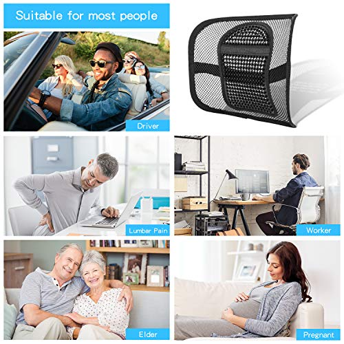 """Product Image 5: ACVCY Lumbar Mesh Support for Office Chair or Car Seat, Breathable Comfortable Back Support for Office Chair Lumbar Support Cushion for Car Seats Office Chair Car Lumbar Cushion 12"""" x 16"""""""