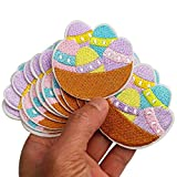 2.4'x2.5' 12pcs Easter Eggs in Basket Iron On Sew On Cloth Embroidered Patches Appliques Machine Embroidery Needlecraft Sewing Projects