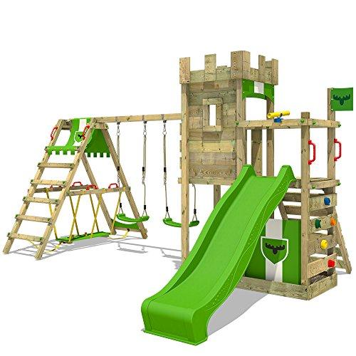 FATMOOSE Spielturm Klettergerüst BoldBaron Boost XXL Spielplatz Ritterburg mit Surfanbau und Doppelschaukel, extrabreitem Podest und Sandkasten