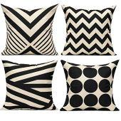 Capas de almofada All Smiles preto bege Boho 16x16 conjunto de 4 listras do meio século decorativas para ambientes externos almofada para sofá Paito Sofá-cama, decoração geométrica bronze preto
