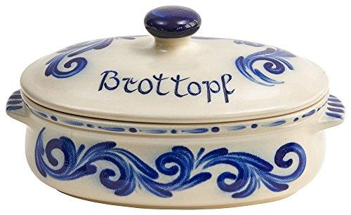 Vivapollo Original Brottopf Brotkasten Keramik westerwälder Kannenbäckerland salzglasierte Steinzeug Steingut Keramik Ton oval klein geblaut Deutsche Handarbeit