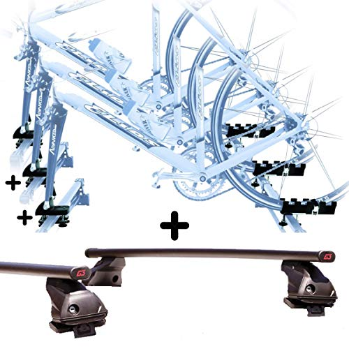 PROPOSTEONLINE Tre Portabici da Tetto Auto Compatibile per Renault CAPTUR 5p (2013 in Poi) 3X Porta Bici con Attacco a Forcella Set con Barre Portatutto