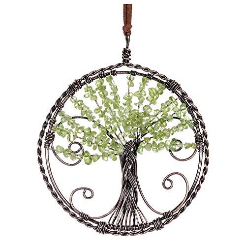 Jovivi Peridot Chakra Healing Tree of Life Crystal Hanging...