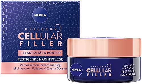 Nivea Hyaluron Cellular + Elastizität und Kontur Nachtpflege, Anti Falten Nachtcreme mildert Falten, Gesichtscreme für elastische und gestärkte Haut, im 1er Pack (1 x 50 ml Tiegel)