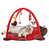 Freeas Hund Katze Mobile Aktivität Spiel Mat Pet Gepolsterte Bett mit Hängende Spielzeug Glocken Bälle und Mäuse (B)