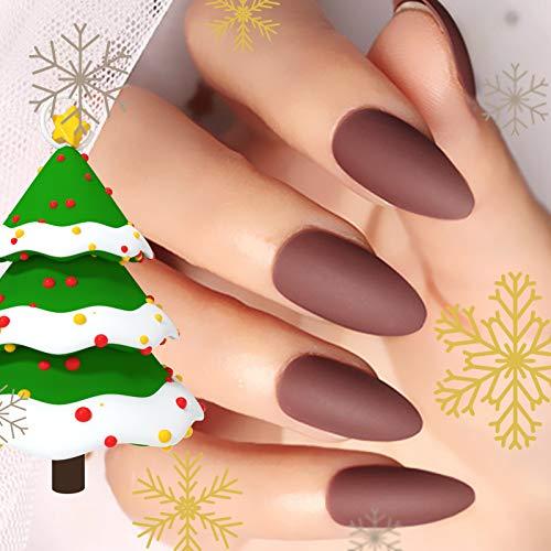 24 Pcs Christmas Fake Nails Matte Stiletto Long Almond Shape Nails Brown Full Cover Nail Art Medium FALSE Gel Nails Tips Decoration Sets for Women Teens Girls (Brown)