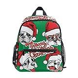 Mochila para niños y niñas Mini Mochila Bolsa de Viaje con Clip para el Pecho Lindo Sombrero navideño Perro cariñoso