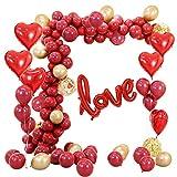 MMTX 34 Pack Ballons Coeur Rouge Hélium Foil Set 18 Amour Ballons de Pouce pour...