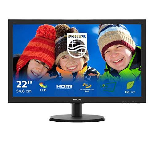 Philips Monitor 223V5LHSB2 Monitor para PC de escritorio 22 'LED, Full HD, 1920 x 1080, 5 ms, HDMI, VGA, montaje VESA, negro