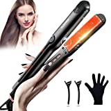 Hair Straightener and Curler, 2 in 1 Straightener and Curling Iron, JOMARTO Professional Flat Iron with Adjustable Temperature, Heats Up Fast, Dual Voltage, Auto-Shut Off, Suitable for All Hair Types