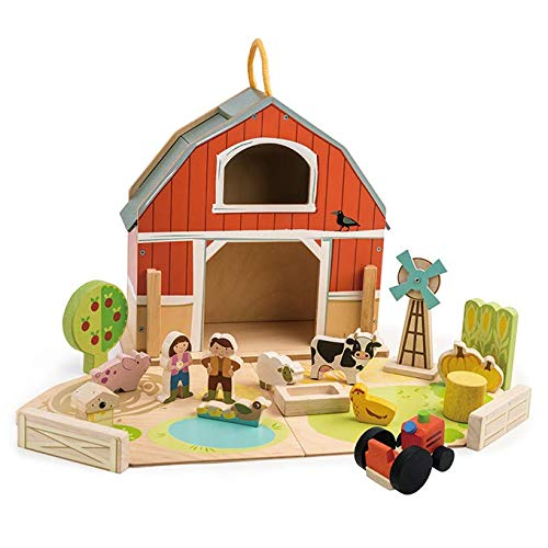 Baby Barn Set - 18 Pc Wooden Take Along Barnyard Playset - Premium Materials and Craftsmanship for Children 3+ yrs