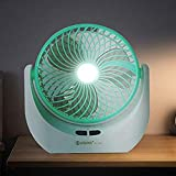 Piesome Powerful Rechargeable High Speed Table Fan with LED Light for Home, Office Desk, Kitchen (Multicolour)