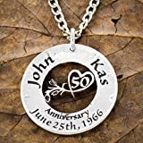50 Year Anniversary Necklace, 50th Custom Romantic Gift, Any Year Available, 5, 10, 15, 20, etc, Hand Cut Coin, By NameCoins