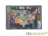 FEENOMENN Plaque Métal Déco Vintage - I Love USA - Carte Etats Unis...