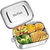 Mefine Edelstahl Brotdose, 1400ml Lunchbox Edelstahl Auslaufsicher Brotbüchse Jausenbox mit 3 Trennwand, Plastikfreie Lunchbox Bento Box für Erwachsen