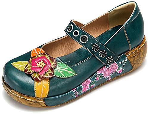 gracosy Merceditas de cuña Zapatos de Mujer de Cuero de Verano Plataforma de Confort Zapatos Sandalias de Mujer Floral Mujeres niñas Sandalias Planas Azul Rojo Verde Gris
